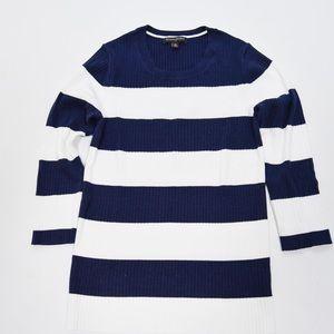 Banana Republic Navy White Striped Ribbed Sweater
